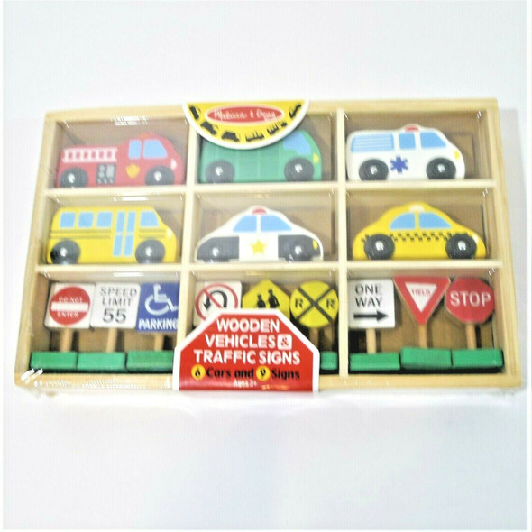 Melissa & Doug Wooden Vehicles & Traffic Signs Toy Set Ages 3+ *NEW*