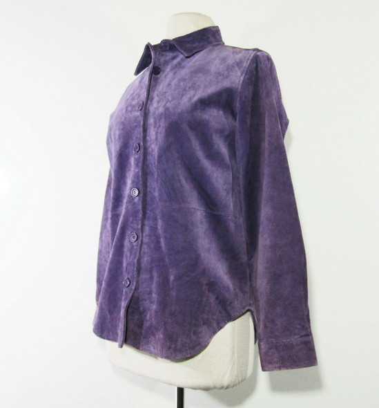Chadwick's Women's Purple Leather Button Up Jacket Size Small **Wear on Sleeves