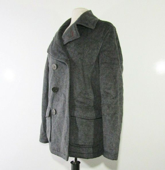 1901 Women's Dark Gray, Wool Button Up Pea Coat Size Medium