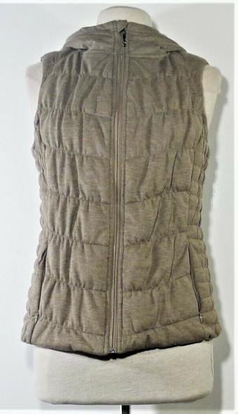 Be By Blanc Noir Light Brown Hooded Puffer Vest Women's Size M
