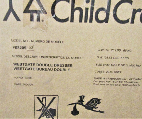 Child Craft Westgate Double Dresser, Chelsea Gray **LOCAL PICKUP ONLY AUSTIN TX