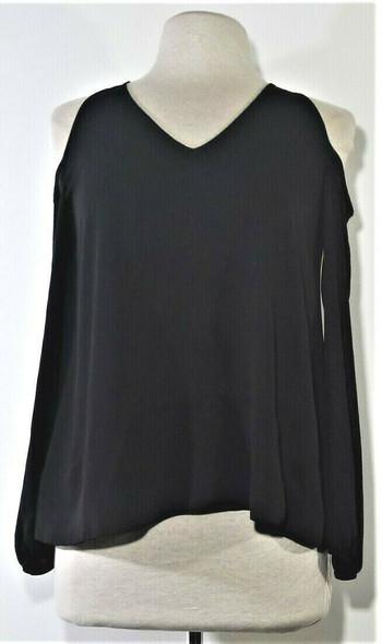Bar III Black Cold Shoulder Blouse Women's Size S *Has Hole*