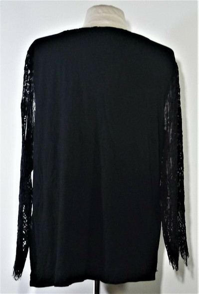 Chico's Black Lace 3/4 Length Sleeve Top Women's XL *NEW w/ Tags*