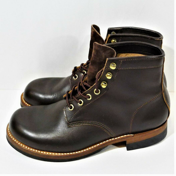 Lone Wolf Brown Leather & Suede Non-Slip Work Boots Men's Size 8