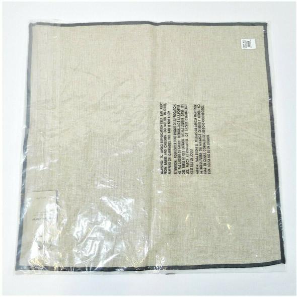 "West Elm Flax Linen 20"" X 20"" Pillow Cover (Tan w/ Grey Trim) *NEW*"