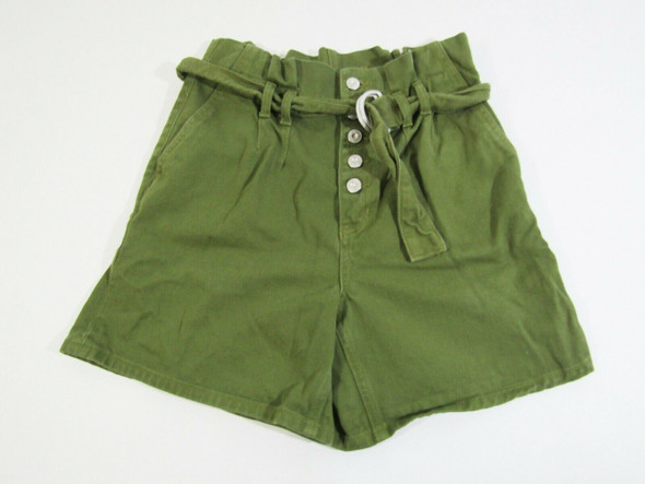 Free People Women's Green Button Up Shorts w/ Belt Size 0