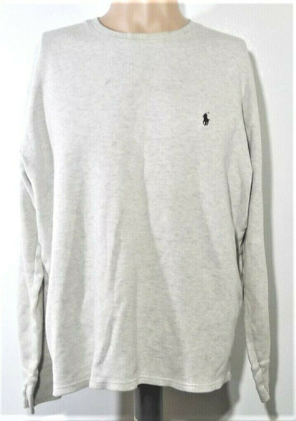 Polo Ralph Lauren Grey Thermal Long Sleeved Shirt Men's Size XL *Has Stains*