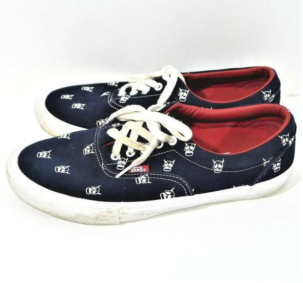VANS Pro Kader Navy Blue Suede Sneakers w/ White Skull Pattern Men's Size 12