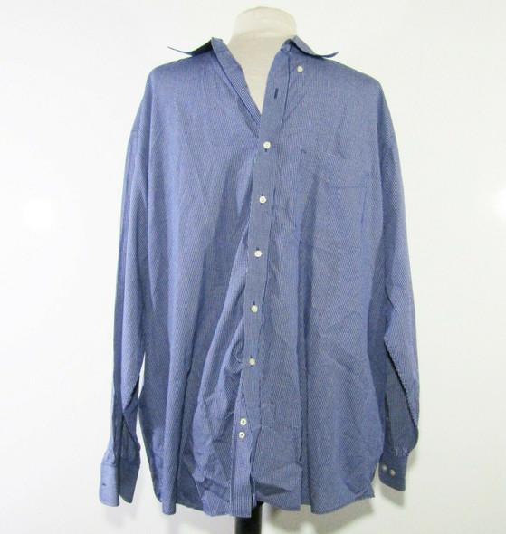 Tommy Hilfiger Men's Blue Checkered Button Up Dress Shirt Size 17.5/34-35