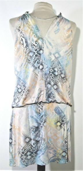 Jessica Simpson Chain Halter Patterned Multicolor Slip Dress Women's Size 10
