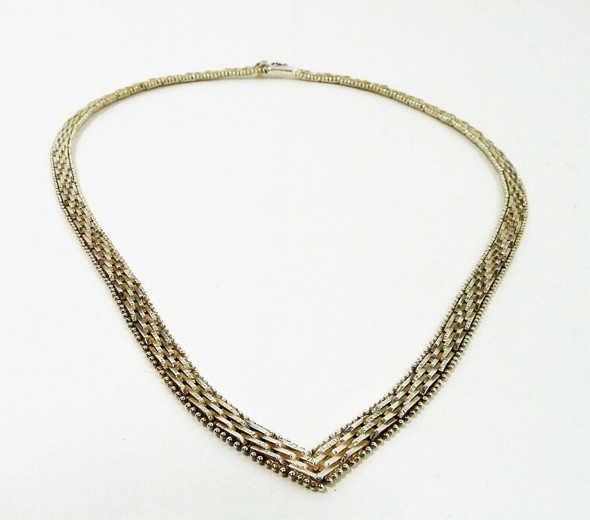 Classy V 925 Sterling Silver Chevron Link Italian Flat Chain Necklace 24.1g