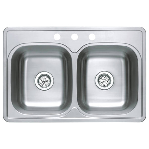 Compass Manufacturing Stainless Steel Double Bowl Top Mount Sink LOCAL PICKUP ONLY