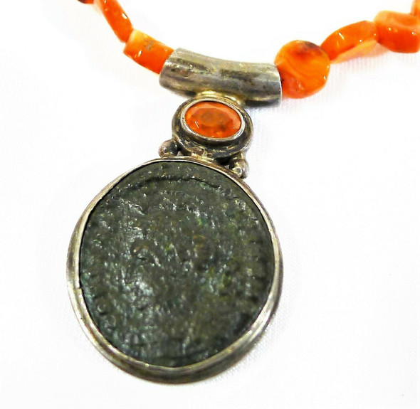 Sterling Exotic Burnt Orange Crystal Necklace with Coin Pendant