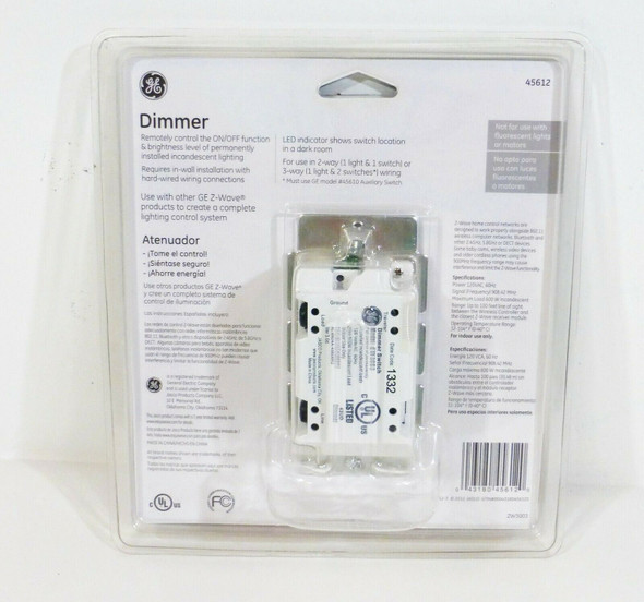 GE Z-wave In-Wall Smart Dimmer 45612   NEW