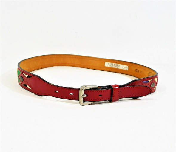 Circle Y of Yoakum Women's Red Leather/Fabric Western Belt Size 36 - 8609 16