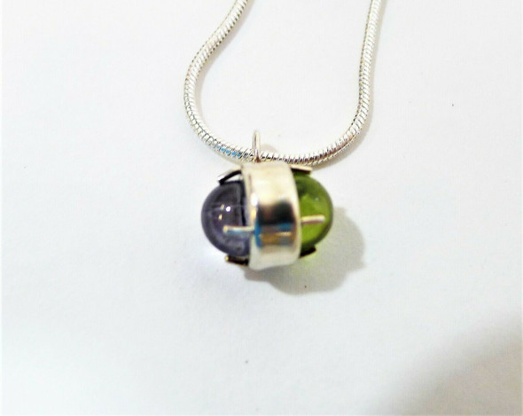Silvertone Necklace with Purple/Green Pendant with 2 Pair of Earrings