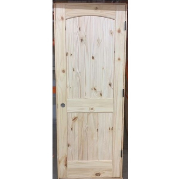 Interior Unfinished 2-Panel  Plank Wood Knotty Pine Pre-Hung Door