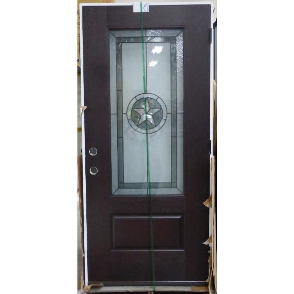 3/0 Texas Star 3/4 Lite Pre-Finished Mahogany Fiberglass Pre-Hung Door
