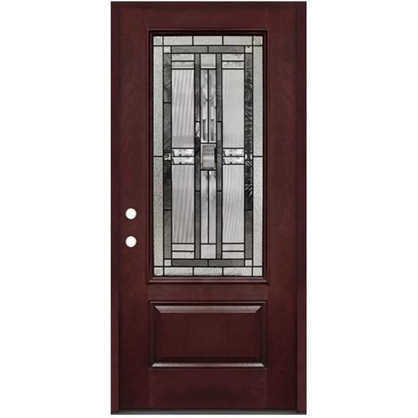 3/0 Decorative Glass 3/4 Lite Pre-finished Mahogany Fiberglass Door