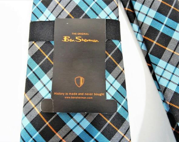 Ben Sherman Men's Necktie Silk Wool Blend Stylish Plaid Blue & Orange Tie NWT