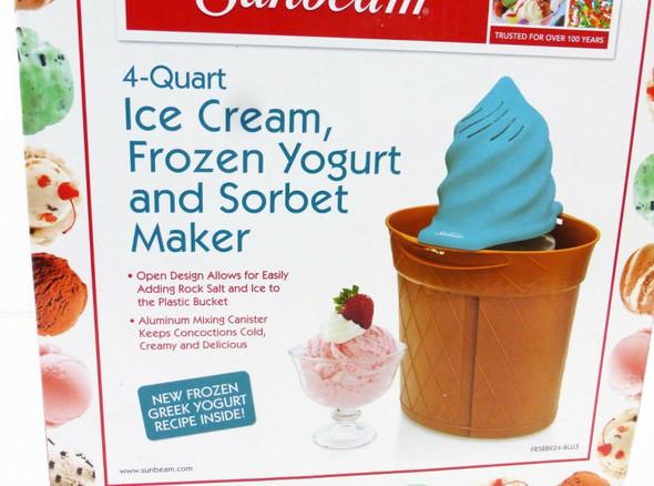 SunBeam 4QT. Ice Cream, Frozen Yogurt and Sorbet Maker FRSBBK04-BLU3  NEW
