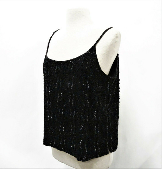 Chico's Apparel Women's Black Beaded Cami Tank Top Size 3 New With Tags