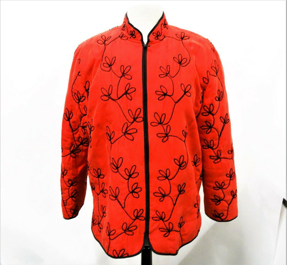 Chico's Design Women's Silk Red & Black Embroidered Light Jacket Size 2 *Stains*