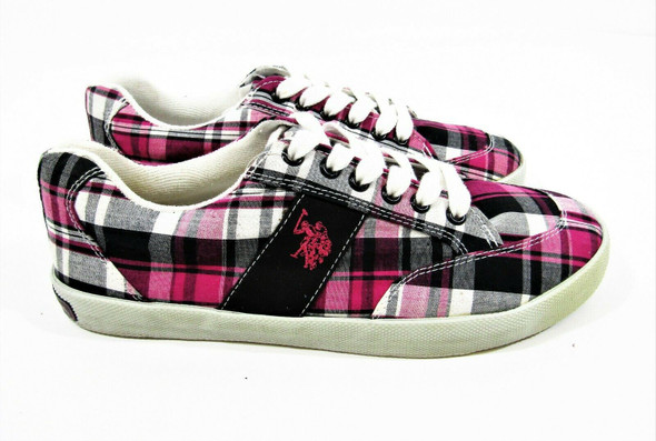 US Polo Assn Women's Mackay Pink Plaid Sneakers Athletic Shoes Size 10 *Stained*