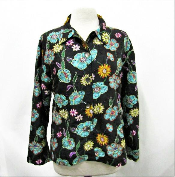 Chico's Design Women's Silk Floral Bead Embellished Light Jacket Size 2