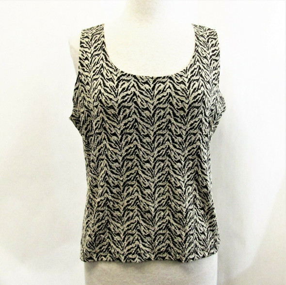 Chico's Design Women's Zebra Print Black & Tan Tank Size 3