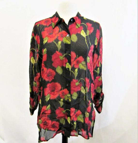 Chico's Design Women's Red & Black Floral Button Down Blouse Size 2