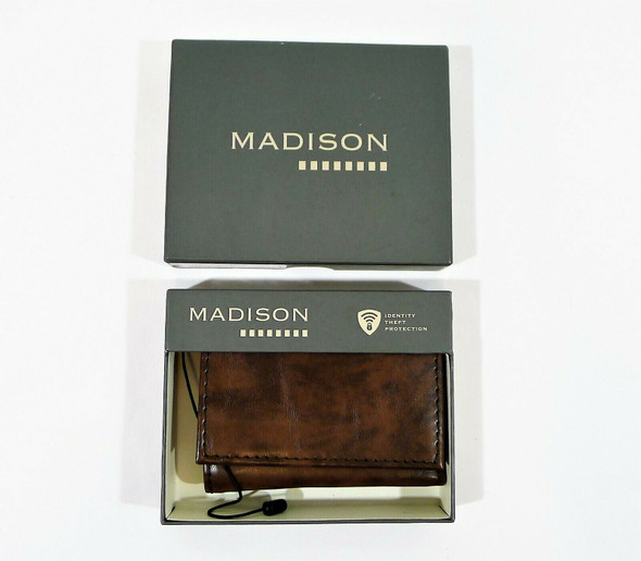 Madison Boone Brown Leather Wallet Identity Theft Protection Trifold Wallet