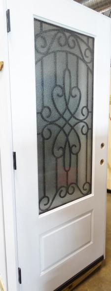 3/4 Lite Frosted Glass Decorated Window Fiberglass Door