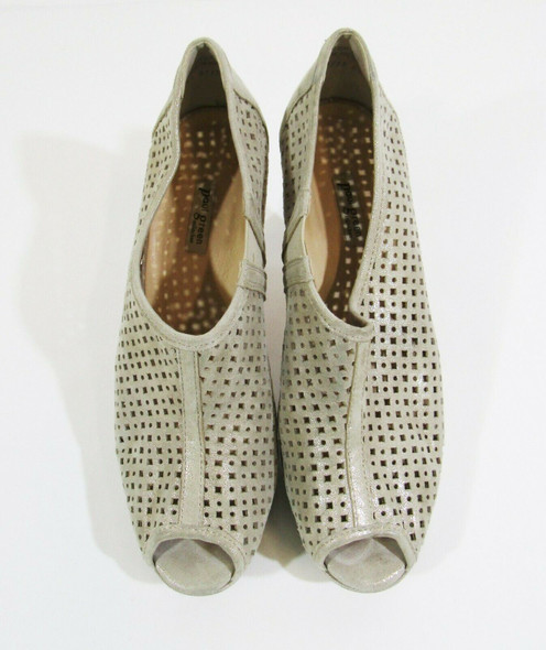 Paul Green Shimmery Tan Suede Women's Peep Toe Pumps Size 7