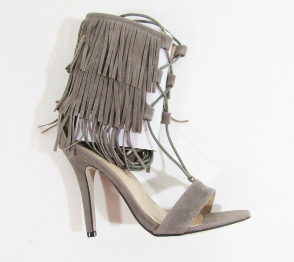 Chase & Chloe Gray Suede Women's Tie Up High Heels NIB Size 7.5