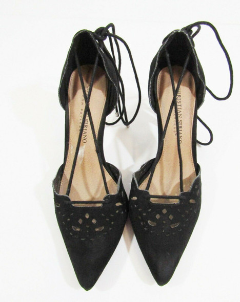 Christian Siriano Black Pointed Toe Women's Lace Up High Heels Size 6.5