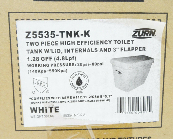 Zurn High-Efficiency Toilet Tank w/Lid - White NEW  LOCAL PICKUP ONLY, AUSTIN TX