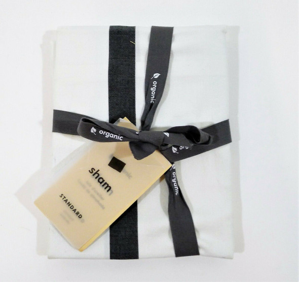 """West Elm Black Organic Washed Cotton Percale Bold Stripe Sham Only 26"""" x 20"""" NEW"""