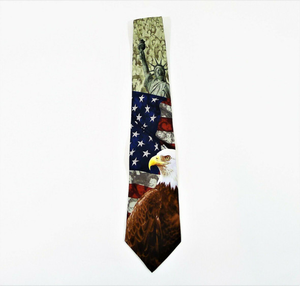Eagles Wings Men's Patriotic Silk Neck Tie w/ Eagle, Statue of Liberty and Flag