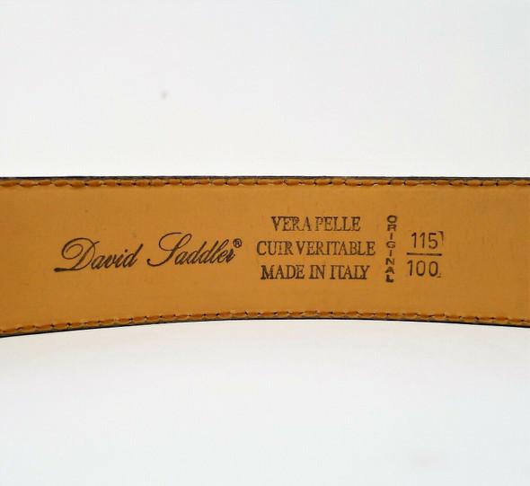 "David Saddler Men's Black Vera Pelle Leather Made In Italy Belt 117cm or 46"""