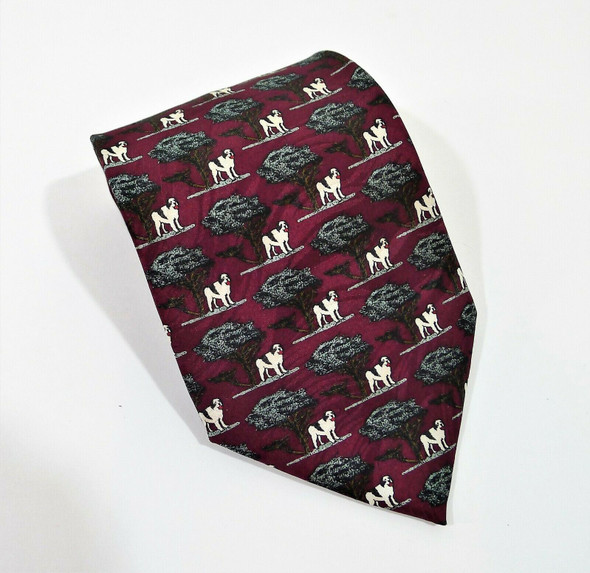 Big Dogs Men Maroon Dog Print Silk Tie Wide