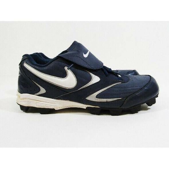 Nike Navy Blue & White Men's Baseball Cleats Size 12 **HAS INK MARK ON BOTTOM**