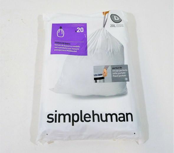 5 Packs of Simplehuman Code D Custom Fit Drawstring Trash Bags 20 Count - NEW