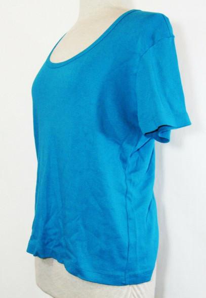 Chico's Design Women's Turquoise 100% Cotton Short Sleeve T-Shirt Size 3/XL