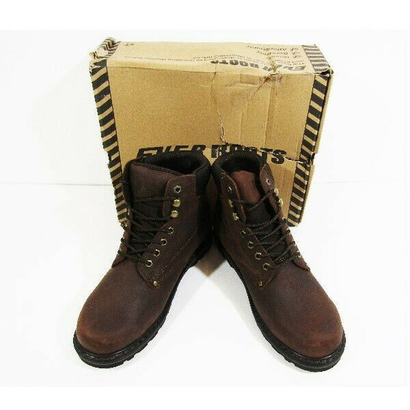 Ever Boots Men's Brown Leather Plain Toe Nubuck Boot Size 9 *NIB / Damaged Box*