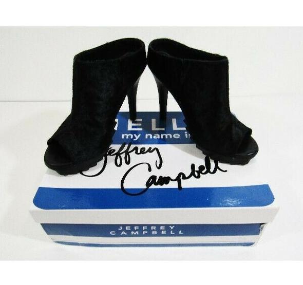 Jeffrey Campbell Women's Black Pony Fur Open Toe Pumps Size 6 **Has Defect**