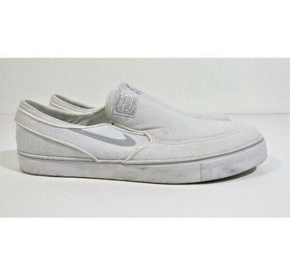 Nike Stefan Janoski Men's White & Gray Canvas Skateboard Shoes Size 13
