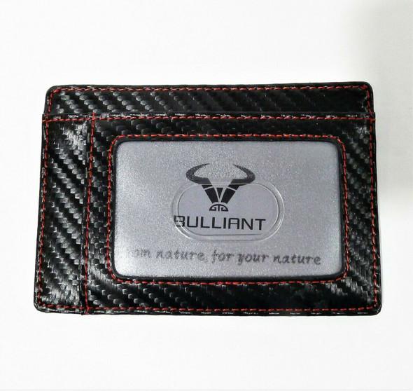 Bulliant Men's Black/Red Trim Leather Slim Wallet Card Holder - NEW *DAMAGED BOX