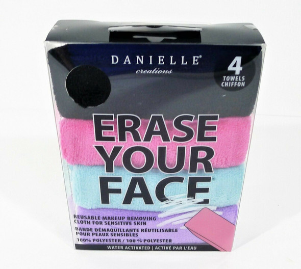 4 Count Danielle Creations Erase Your Face Make-up Removing Cloths - NEW