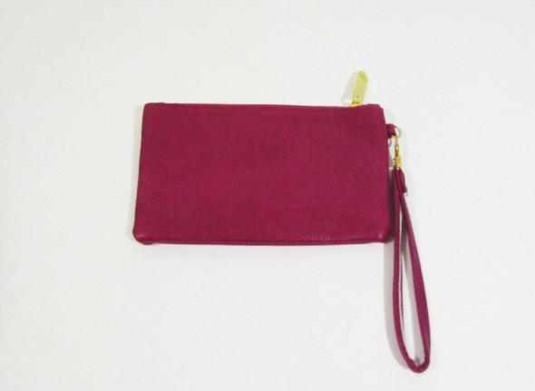 "Mulberry Women's Magenta Leather Zip Up Wristlet 7"" x 4"""